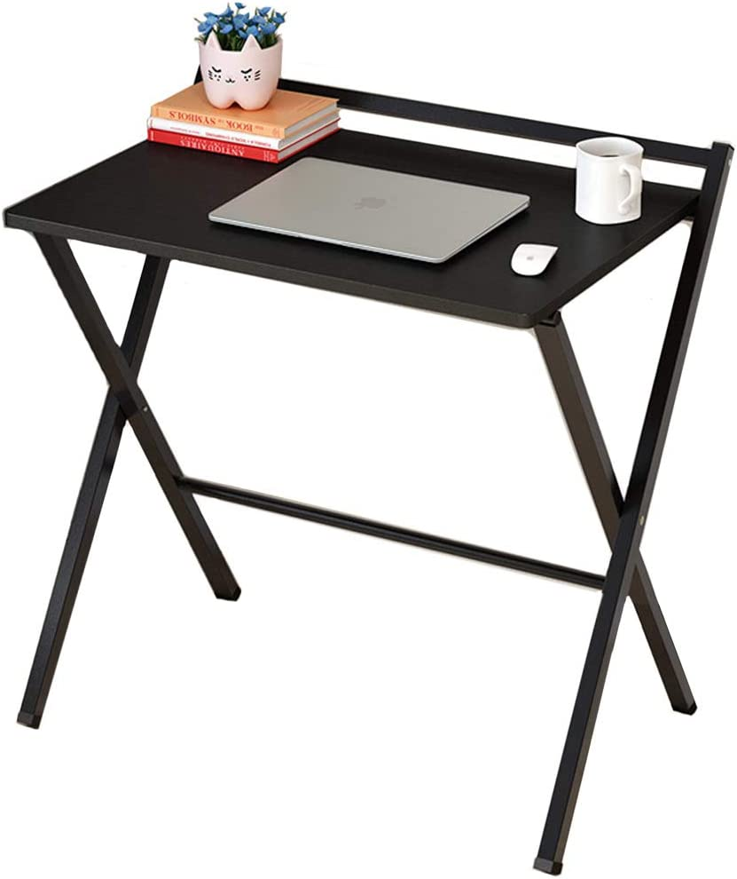 CDTO Foldable Office Table for Small Spaces, Computer Desk Shelf Writing Desk for Study Home Pc Laptop Easy to Store-c1 62x50x75cm