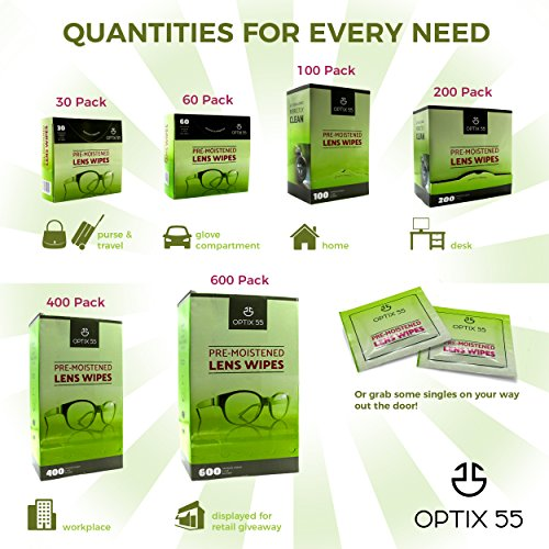 Pre-Moistened Lens Cleaning Wipes - 400 Cloths - Safely Cleans Glasses, Sunglasses, Camera Lenses, and Electronic Quickly & Efficiently - Travel - by Optix 55 by Optix 55 (Image #6)