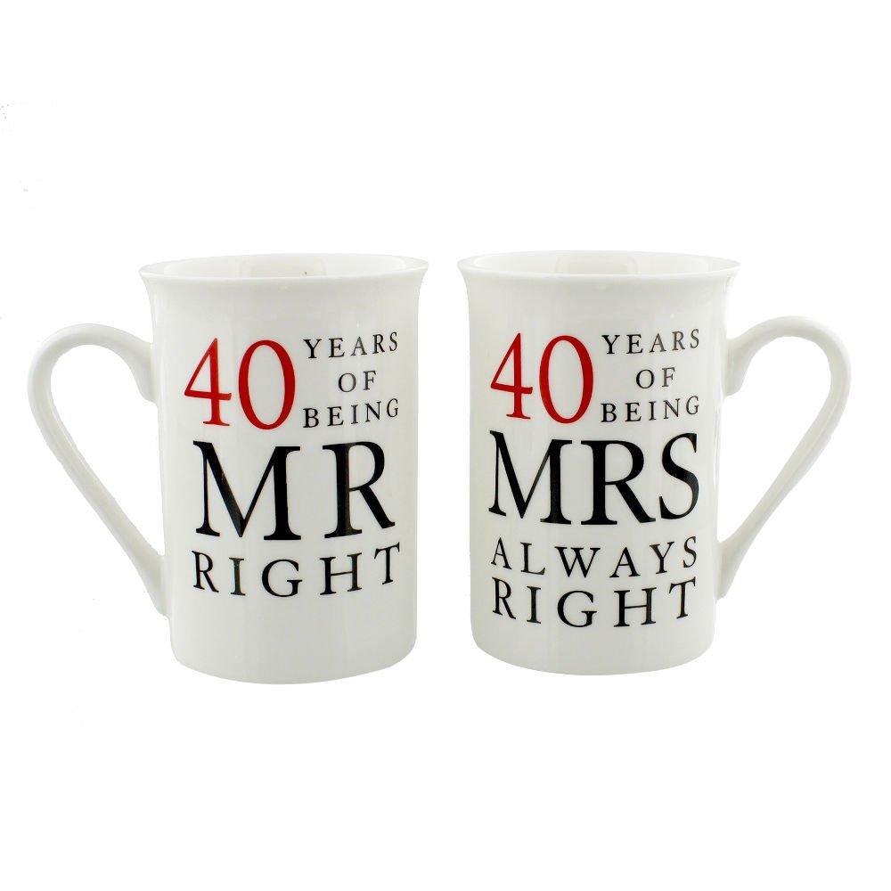 Ivory 40th Anniversary Mr Right & Mrs Always Right Mug Gift Set by Haysom Interiors