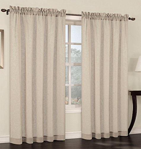 Urbanest 54-inch Wide by 84-inch Long Faux Linen Sheer Set of 2 Curtain Panels, Sand