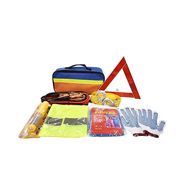 Crayfomo Auto Emergency Kit 12 Piece Multipurpose Emergency Pack Roadside Assistance Kits With Jumper Cables, Tow Rope, Emergency Triangle, Safety Hammer For Trip