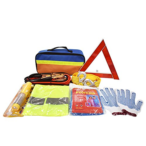 Car Auto Emergency Safety Kits Roadside Assistance kits with Jumper Cables, Tow Rope, Emergency Triangle, Safety Hammer for - Checklist Road Trip For
