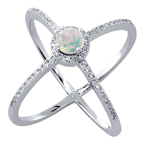 Cabochon Opal Cross - 1.47 Ct Round Cabochon White Simulated Opal 925 Sterling Silver Criss-Cross Ring (Size 7)