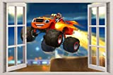 Blaze And The Monster Machines 3D Window View Decal WALL STICKER Decor Art H54, Large