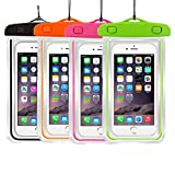 4Pack Universal Floatable Waterproof Cases Case Dry Bags CaseHigh Shop Transparent Covers Color Submersible for Cellphones Under 5.8 Inch Bumper Case Fashion Design (4 Pack:Black+Orange+Pink+Green)