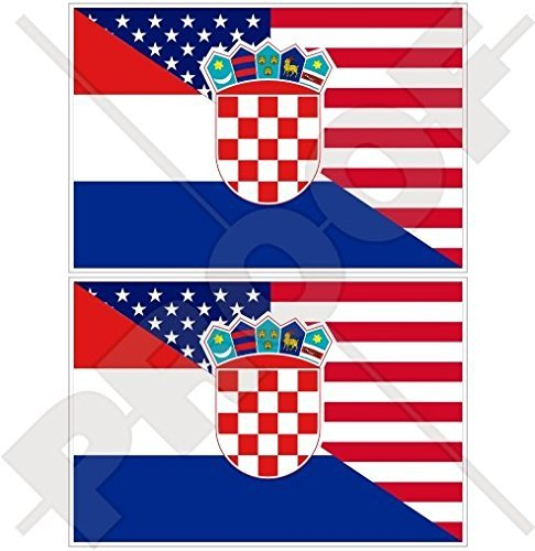 USA United States of America & CROATIA Hrvatska American-Croatian Flag 3