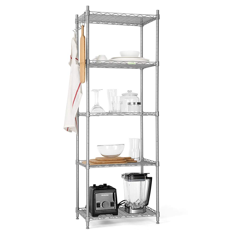 Cozzine 5-Shelf Shelving Unit, Heavy Duty Steel Wire Storage Organisation Rack and Shelving for Kitchen Bedroom Living Room Bathroom Office Garage, 33 x 53 x 151 cm, Sliver