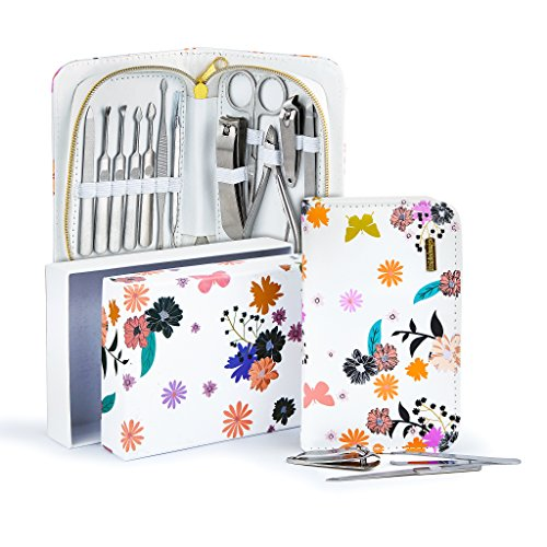 Exclusive Manicure Set & Pedicure Kit 12Pcs of Stainless Steel Manicure Pedicure Set, for Travel Home Comes With Premium Quality Floral Zipper Case grooming kit for women teen manicure set (white) - Exclusive Kit
