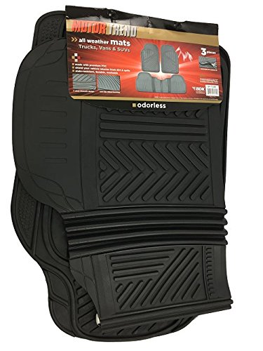 Motor Trend MT-773-BK FlexTough Baseline-Heavy Duty Rubber Floor Mats for Car SUV Truck Van, 100% Odorless & All Weather Protection (Black) (Ford Heavy Truck)