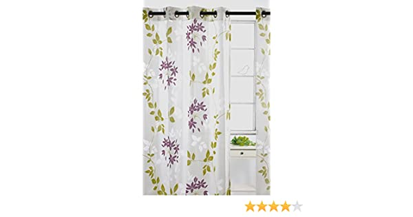 Set of 2 LJ Home Fashions 58 Dreamscape Sheer Leaf Burnout Grommet Curtain Panels White//Chartreuse Green//Purple 52 W x 95 L
