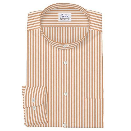 ワイシャツ 軽井沢シャツ [A10KZZS07]スタンドカラー オレンジロンドンストライプ 純綿 らくらくオーダー受注生産商品 B01J700DU0 首回り:42 裄丈:81|スリム型 スリム型 首回り:42 裄丈:81