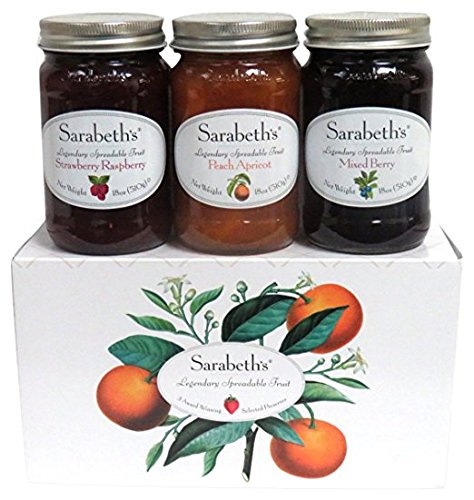 - Sarabeth's 3 Jar Set, Peach Apricot, Strawberry Raspberry, and Mixed Berry, 18 oz each