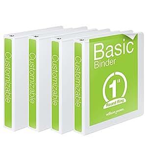 Wilson Jones 1 Inch 3 Ring Binder, Basic Round Ring View Binder, White, 4 Pack (W70362-14W)
