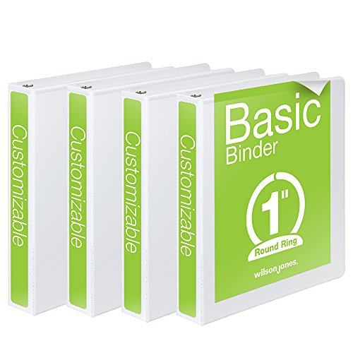 Wilson Jones 1 Inch 3 Ring Binder, Basic Round Ring View Binder, White, 4 Pack (W70362-14W)