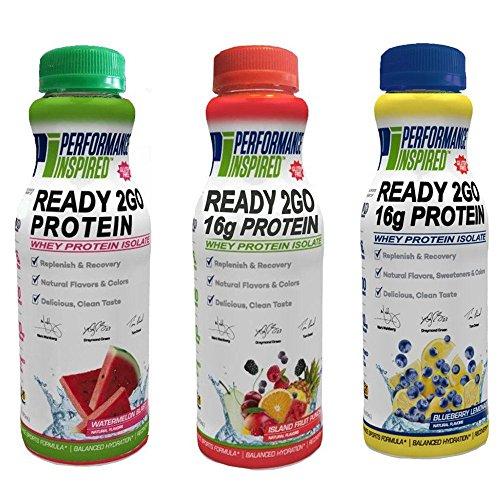Performance Inspired Nutrition Ready 2GO Protein, (1 x Island Fruit Punch + 1 x Watermelon Blast + 1 x Blueberry Lemonade) - 3 Ct; Style #: - The Whey Blast Fruit