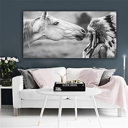 YSHUO - Cuadro de pared para salón con diseño de indios negros con líneas deportivas de caballo, 40 x 80 cm