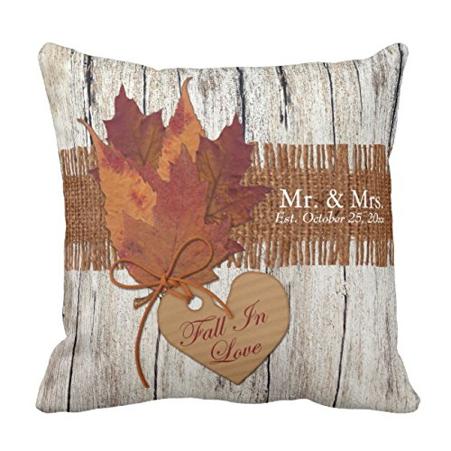 UOOPOO Wood, Leaves Heart Couple Custom Wedding Gift Throw Pillow Case Square 18 x 18 inches Cotton Canvas Customized Wedding Pillow Cover for Sofa