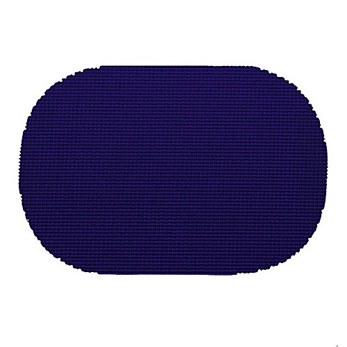 12 Piece Navy Placemats,(Set of 12), Machine Washable, Solid Pattern, Oval Shape, Contemporary And Traditional Style, Perfect For Everyday Entertaining, Season Or Holiday Lace Material, Royal - Oval Style