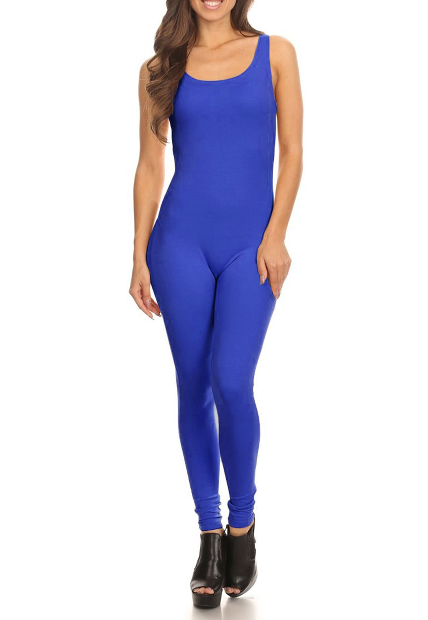 LATS BRAND Women's Stretch Cotton Yoga Leggings Jumpsuit Playsuit in Blue - Small