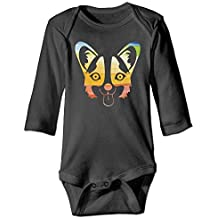 7r4e Baby Corgi Glasses and Mustaches Infant Cotton Simple Romper Long-Sleeve Bodysuit