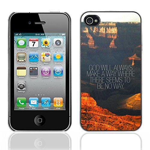 DREAMCASE Citation de Bible Coque de Protection Image Rigide Etui solide Housse T¨¦l¨¦phone Case Pour APPLE IPHONE 4 / 4S - GOD WILL ALWAYS MAKE A WAY