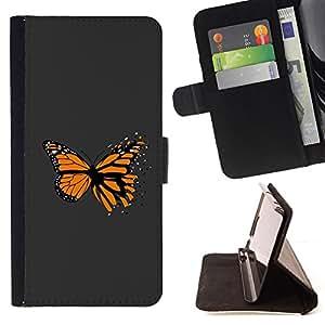 BullDog Case - FOR/Sony Xperia Z3 D6603 / - / Awesome Orange Butterfly /- Monedero de cuero de la PU Llevar cubierta de la caja con el ID Credit Card Slots Flip funda de cuer
