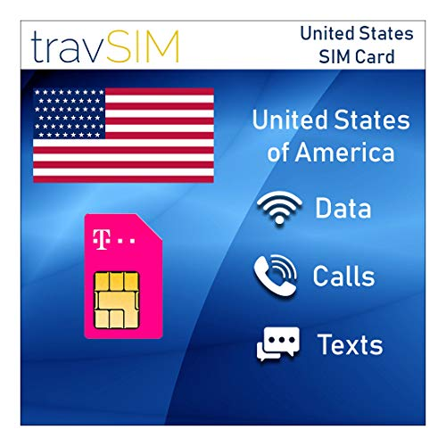 travSIM T-Mobile Prepaid USA SIM Card - 50GB Mobile Internet Data, Unlimited Calls & Texts For The United States - Tethering Allowed - 4G LTE For 15 Days