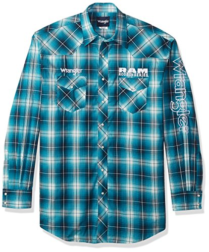 Wrangler Men's Big and Tall Dodge Ram Rodeo Series Woven Shirt, Turquoise/White, LT