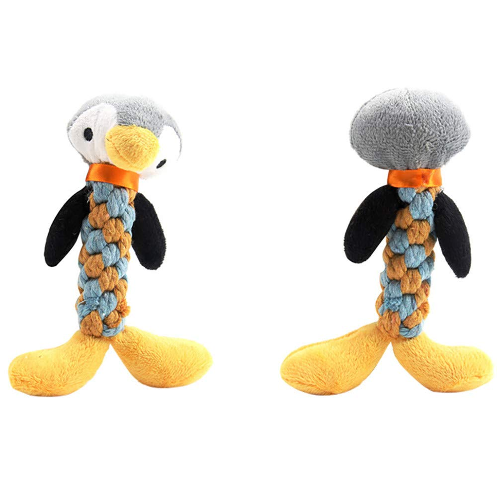 HUN Huangou Pet Dog Rope Teeth Chew Animal Shaped Squeaky Sound Stuffed Plush Toys Colorful Design (G, 209cm)