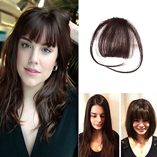 HIKYUU Hair Piece Bangs Dark Brown Human Hair Clip in Bangs Neat Air Fringe Wispy Bangs 100% Remy Brazilian Human ()