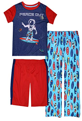 Only Boys 3-Piece Matching Spring Pajama Set with Fun Prints, Peace Out, Size 12/14'