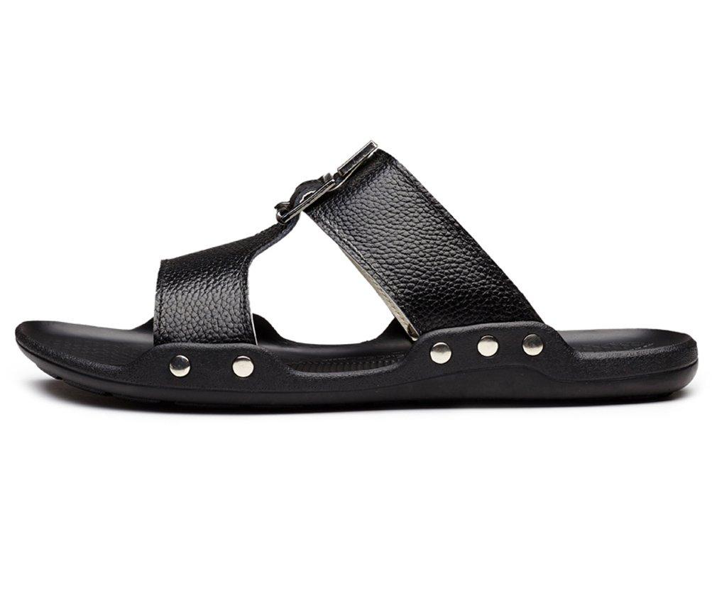 Guciheaven Men's Cowhide Leather Skid Flats Slides Sandals Black 7.5M US by GUCIHEAVEN (Image #2)