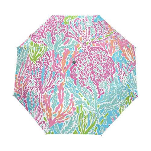 Rain-Love Cute Lilly Pulitzer Pattern 3 Folds Auto Open Close Anti-UV Umbrella