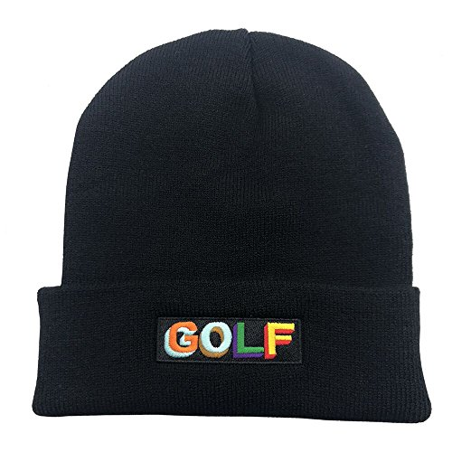 Zhangjunlin Golf Warm Winter Hat Knit Beanie Skull Cap Embroidered Soft Headwear Unisex Black