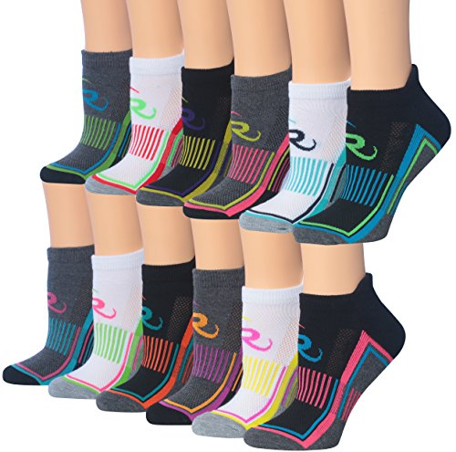 Ronnox Women's 12-Pairs Low Cut Running & Athletic Performance Socks, RLT01-AB, Medium/Large