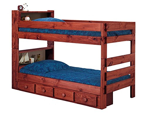 Ameriwood Bookcase Extra Long Twin Bunk Bed with Underbed Storage Drawers (Mahogany) (Underbed Pine Storage)