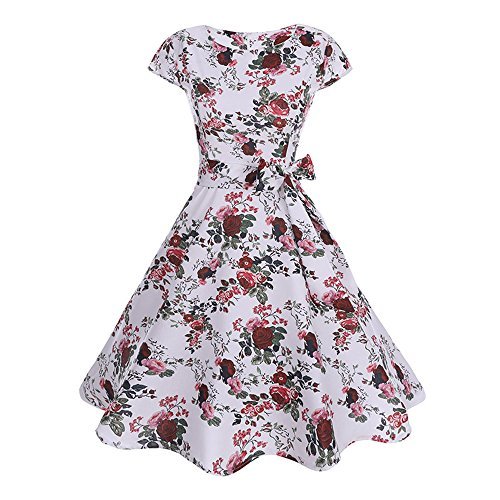 iZHH Women Fashion Print Dirndl Casual Retro Evening Party Prom Swing Dress Belt(White-e,L)