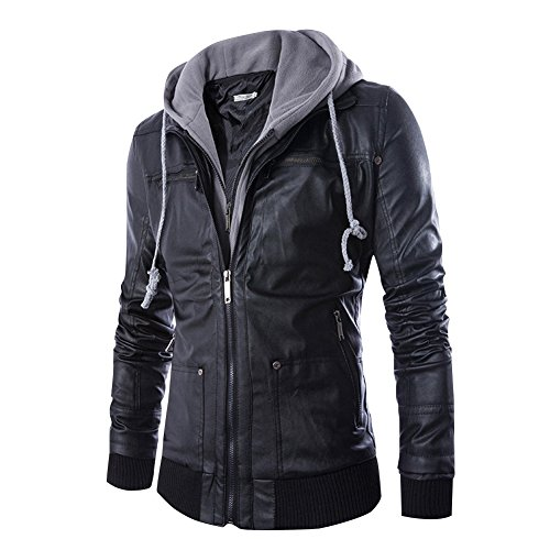 Dora Bridal Men's Faux Leather Jacket Hooded Casual Moto Jacket Hoodies Zip Up Waterproof Coats Outwear (Mens Black Jacket Coat Leather)