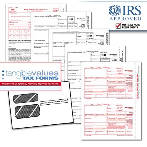 1099 Kit - Tangible Values 1099 Misc Laser Forms (4-Part) Kit with Env for 25 Vendors + 3 Form 1096's (2017)