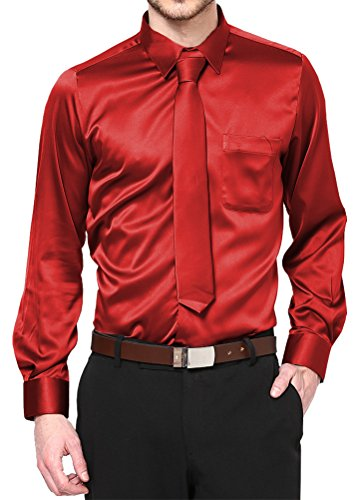 Red Satin Dress Shirt with Neck Tie and Hanky Kids to Youth Sizes (Youth 14)