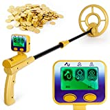 INTEY Metal Detector Lightweight & High Precision LCD Professional Screen for Detecting Treasures, Metals, Gold, Silver with Waterproof Disc and Headphone Jack - Length Adjustable for Adults and Kids
