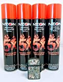 4 Cans of Neon 5x Ultra Refined Butane Fuel FREE waterproof torch lighter
