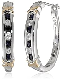 Sterling Silver and 14k Yellow Gold Gemstone and White Sapphire Hoop Earrings