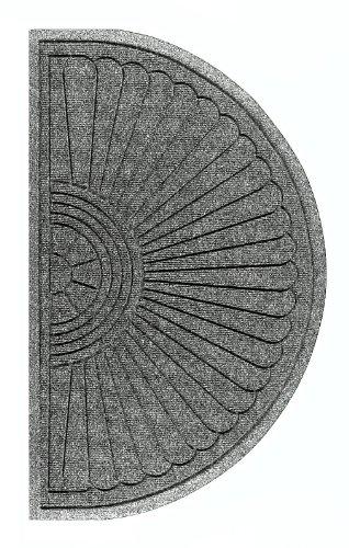 WaterHog Eco Grand Half Oval Entrance Mat, Indoor/Outdoor Black Smoke Floor Mat 1.8' Length x 3' Width, Grey Ash by M+A Matting ()