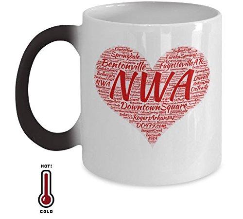 Adorable Arkansas Coffee Mug - Northwest Arkansas Cup Includes Bentonville Fayetteville Eureka Springs Bella Vista Rogers Springdale Siloam Springs Heat Changing Color Mug Great Gift For AR Lovers ()