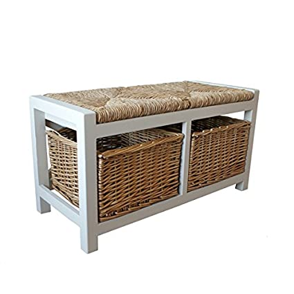 Surprising Amari Leisure Gloucester 2 Seater Storage Bench In Light Stone Finish With 2 X Wicker Rattan Basket Drawers Cabinet Farmhouse Gamerscity Chair Design For Home Gamerscityorg