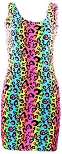 (Neon Multi Colored Cheetah Animal Print Tube Bodycon Party Dress Costume (XL,)