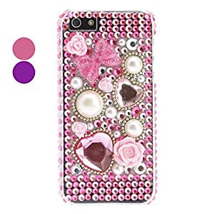 Rhinestones Style Pearl Design Hard Case for iPhone 5/5S --- COLOR:Pink