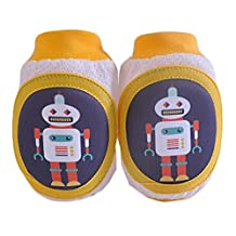 Cute Yellow Robot Kids Knee Brace Baby Elbow Pads for Summer