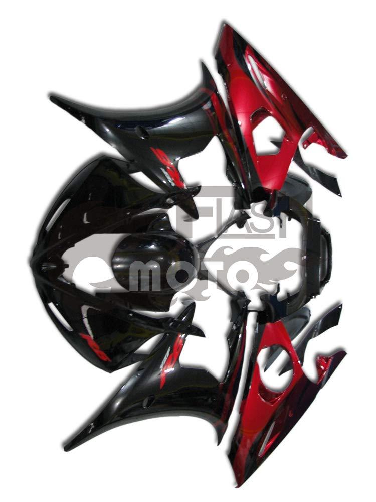 FlashMoto yamaha ヤマハ YZF-600 R6 2005用フェアリング 塗装済 オートバイ用射出成型ABS樹脂ボディワークのフェアリングキットセット (ブラック,オレンジ)   B07LF3GF1R
